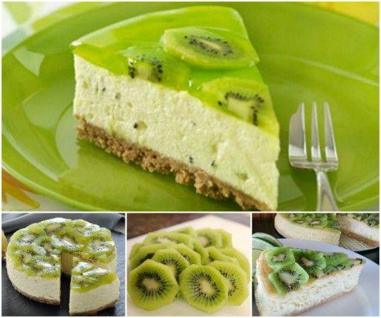 kiwi-fruit-cheesecake recipe #diy #food #recipe #kiwi