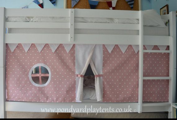 Pink Dotty children's bunk bed tent. Create a by PondYardPlayTents $82.56