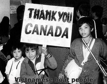 This image is from the Vietnamese Boat People Memorial Monument Mississauga. It demonstrates the gratefulness of the vietnamese people have for Canada and the Canadian government. This shows the positive impact accepting refugees has on the migrants as well as the show of appreciation.