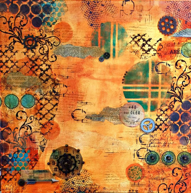 I think this is beautiful and I usually don't like orange.  This is really great. - - - Mixed Media Canvas Collage Tutorial