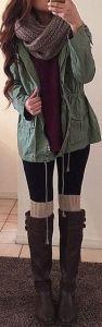 #fall #fashion / military jacket + knit layers