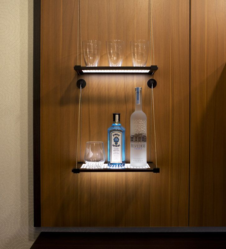 Make Your #bar Feel High End With Illuminated Shelves #CaliforniaClosets  #HomeBar #
