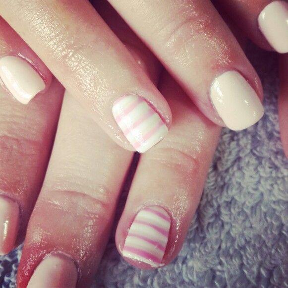 #nailart #nails #love #pink#stripes#white#vanillacream#peach#gelish