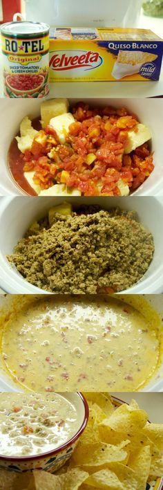 Sausage Queso Dip Recipe for the Crock Pot, maybe add a can of green chilis, a couple of diced jalapeños and black beans too.