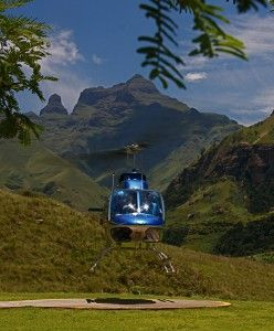 Helicopter -- Activity nearby Three Trees at Spioenkop -- Drakensberg Mountains