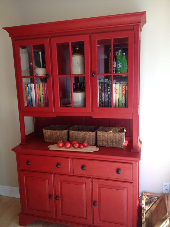 Red China Cabinet/hutch By Emptynestrestoration On Etsy, $595.00