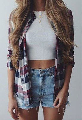 White crop top with jean shorts and plaid t-shirt