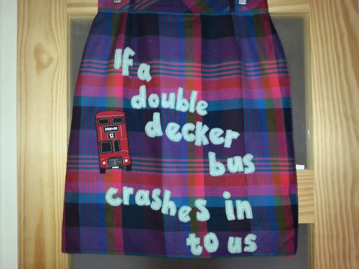 Upcycled skirt - There is a light that never goes out - The Smiths lyrics  wearable art applique embroidery crafts sewing ooak The Smiths Morrissey lyrics Routemaster