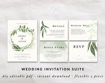 Wreath invitation, Wedding invitation template, Printable invitation, Rustic wedding, Green watercolor floral border, Wedding invitation kit