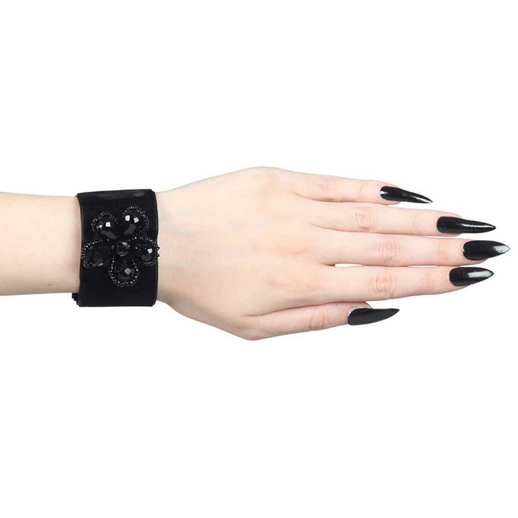 Sinister Ileana fluwelen pols armbanden met kralen bloem detail zwart