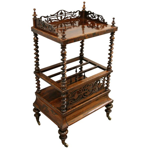 Mid Victorian Rosewood Whatnot Canterbury Victorian