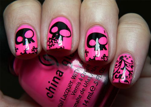 Pink Skull Nail Art: Skulls, Skull Nails, Nailart, Black Skull, Makeup, Nail Designs, Nail Ideas, Nail Art, Pink Skull