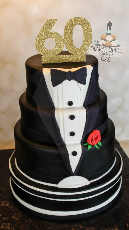 60th birthday tuxedo cake