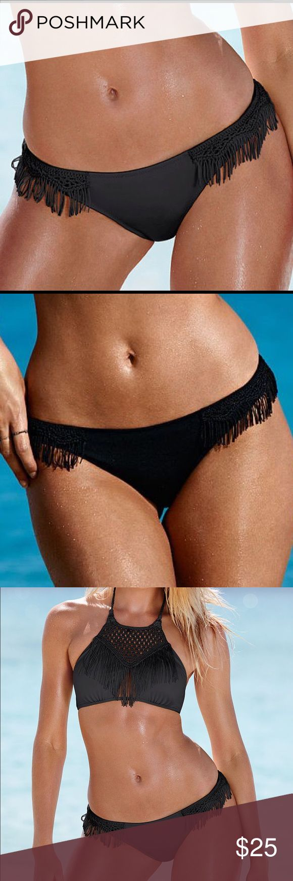 NEW Victoria's Secret fringe Bikini Bottom New with tags. Victoria's Secret very sexy Beach fringe tassel macrame bikini Swim bottom. Color: Black Victoria's Secret Swim Bikinis