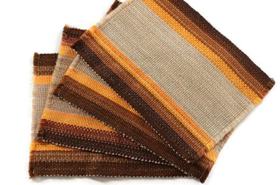 Vintage 1960s Mid-Century Retro Modern Placemats Orange and Brown Beige Yarn Weave Woven Placemats Set epsteam