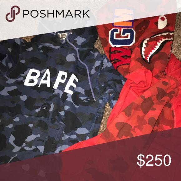 Bape hoodies OG bape hoodie blue size medium  fits more like a small. Red bape hoodie size large bape Jackets & Coats
