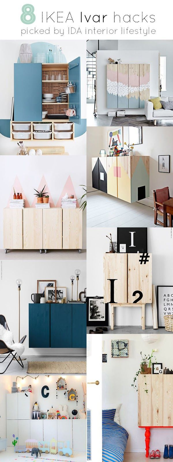 The IVAR cabinet from Ikea {the same one I bought for my TV}, seems to be one of the latest pieces launched by the swedish company, that best lends itself to being hacked. The simple shape and the ba