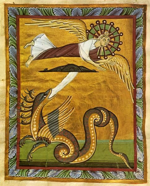 """last night i dreamt of a serpent type/dragon type beast specific to my dream not the apocalypse :-) and alas I see this   """"The Crowned Virgin: A Vision of John"""" (Revelation 12:1-3), from the Bamberg Apocalypse, an 11th century richly illuminated manuscript.Spiritual Reflections: Apocalyptic Advent"""