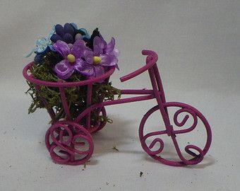 Pink Wheel Barrel Miniature for Fairy Garden by FairylandCraftique