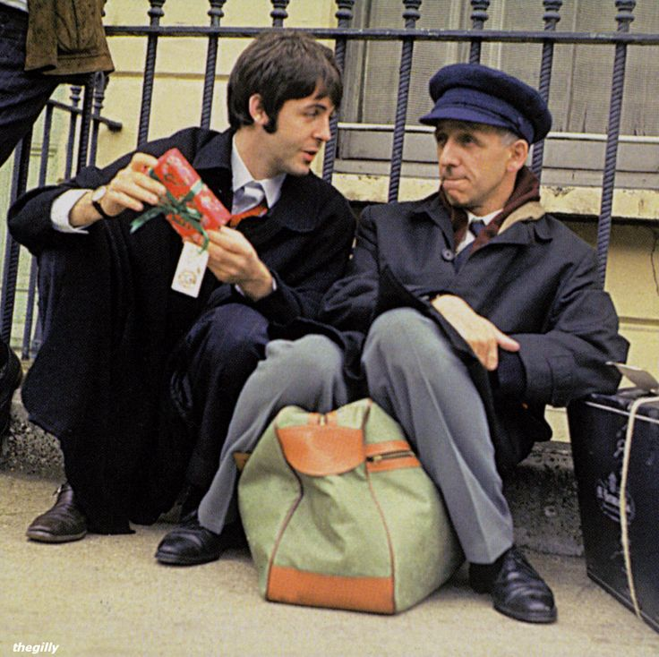 """ivor cutler with beatle paul, 1967, via thegilly (scan from """"the making of the beatles 'magical mystery tour'"""")"""