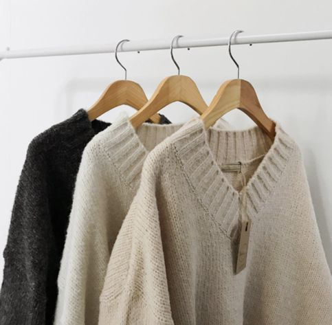 Oversized V Neck Knit Sweater