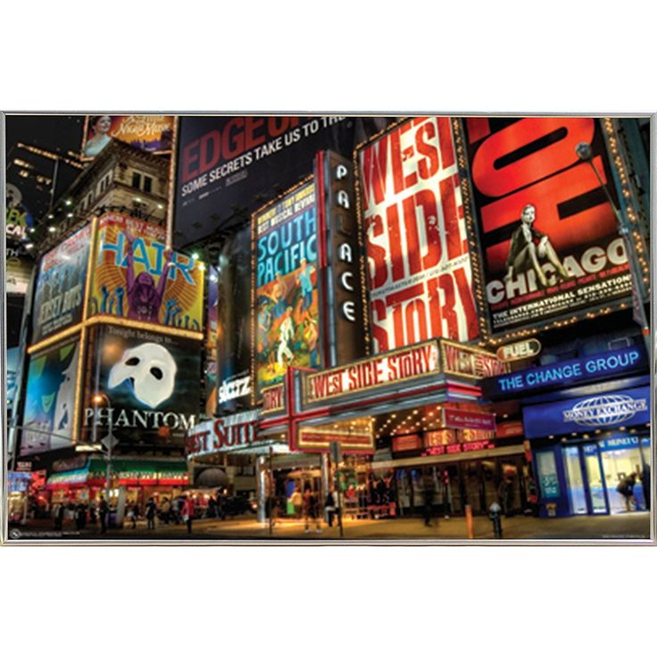 USA Times Square Theater District tone Metal Frame 24x36 Poster