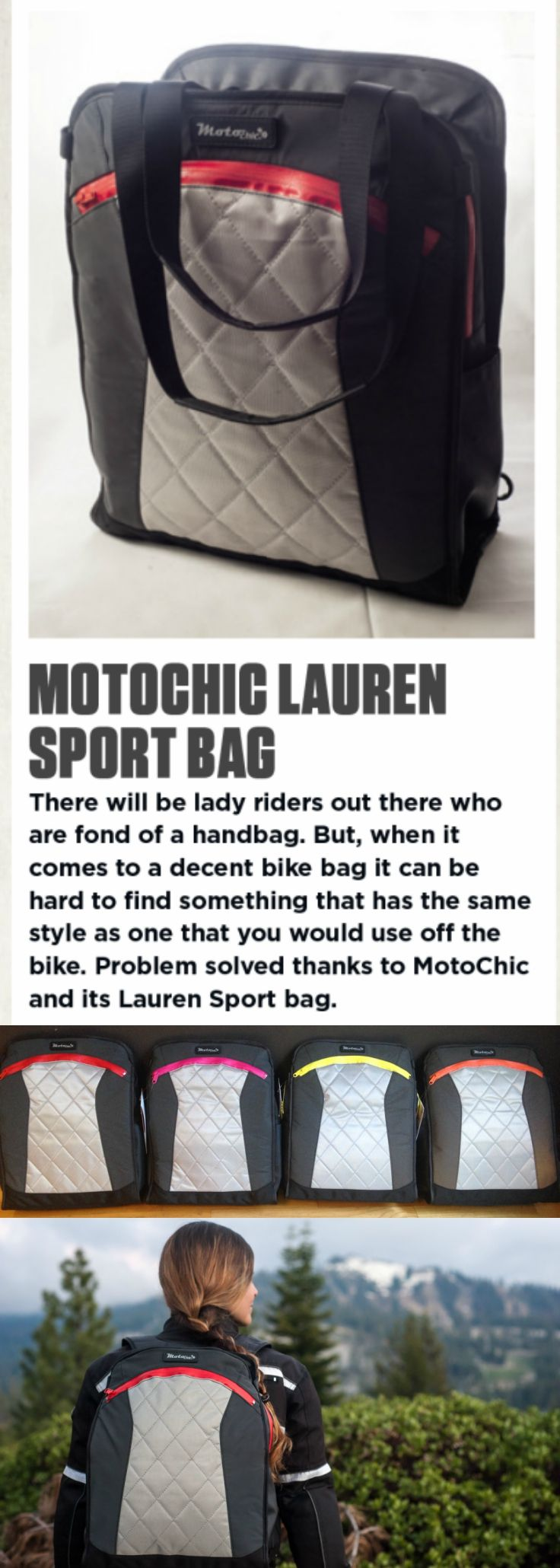 THE PERFECT ACCESSORY FOR WOMEN ON WHEELS: The weatherproof MotoChic® Lauren Sport bag featured in 100% Biker Magazine, the UK's best custom bike magazine. Made from 100% vegan materials, and can be worn as a backpack or tote bag on or off the bike. motorcycle gear / motorcycle gifts / motorcycle bag