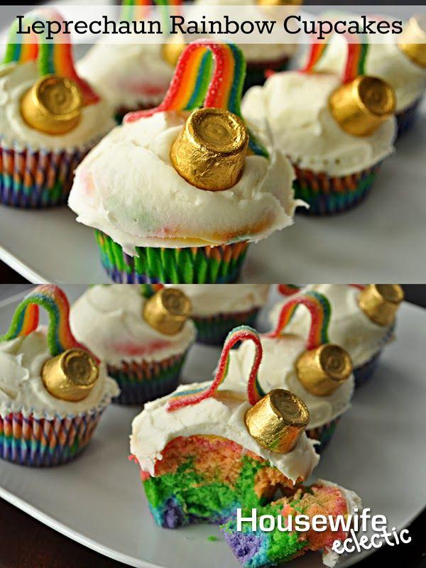 Leprechaun Rainbow Cupcakes, the perfect St. Patrick's Day treat.