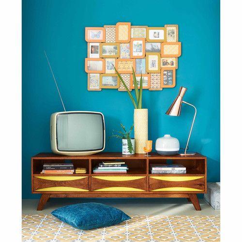 Meuble TV vintage en manguier massif jaune L 145 cm Moon | Maisons du Monde