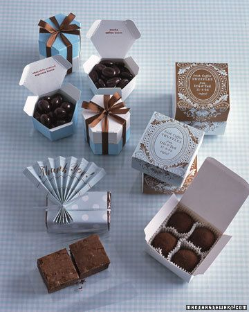 <45 of 50 > Give Something Homemade Send guests home with boxes of your mom's brownies, along with her recipe, or fresh peaches tucked in h...