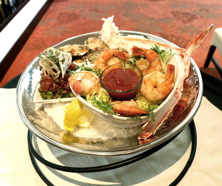 Ruthie's Seafood Platter: Oyster Rockefeller, Shrimp Cocktail, Red King Crab Legs, Calamari, Tequila Lime Cocktail Sauce, Drawn Butter, Lemon Aioli.