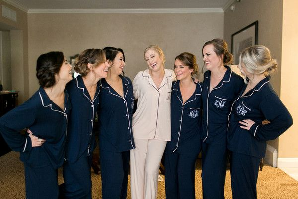 Bride + bridesmaid getting ready photo idea - matching navy monogrammed pajama sets {Arte De Vie}