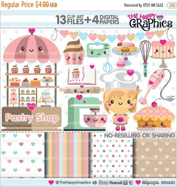 80%OFF - BIG SALE Bakery Clipart, Pastry Clipart, Commercial Use, Kawaii Clipart, Bakery Graphics, Sweet Clipart, Planner Accessories, Cooki