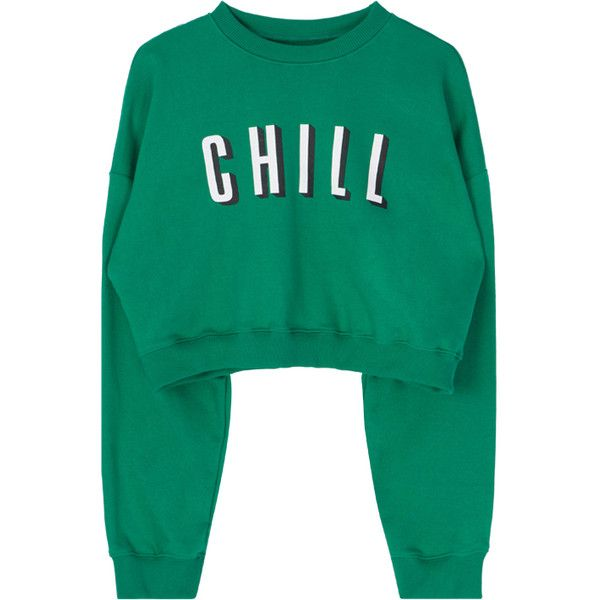 CHILL Cropped Sweatshirt (£22) ❤ liked on Polyvore featuring tops, hoodies, sweatshirts, sweaters, bunny sweatshirt, cropped sweatshirt, green sweatshirt, cut-out crop tops and crop top