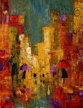 "Artist Justyna Kopania; Painting, ""Rain"""