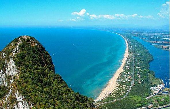 Sabaudia beach from the mountain