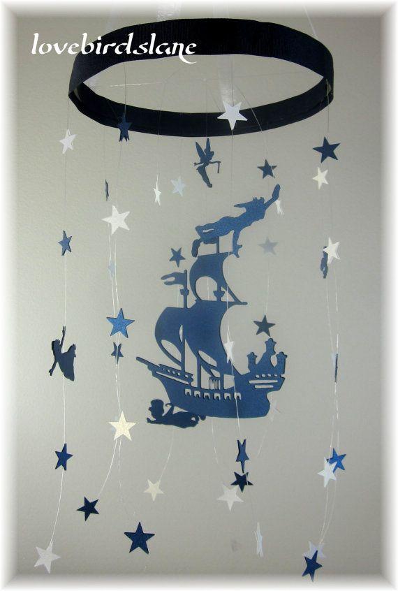 Peter Pan Nursery Mobile, Star Mobile, Nursery Bedding, Neutral Nursery Decor, Baby Shower Gift, Nautical Stars Mobile, Tinker Bell Mobile