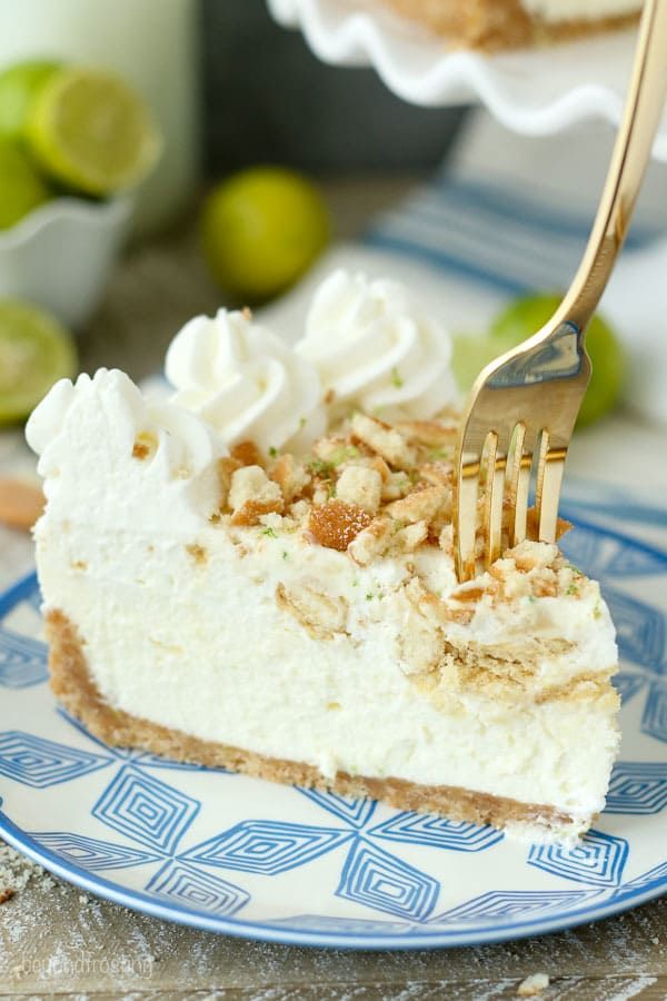 Dive face first into this No-Bake Key Lime Mousse Pie. The Nilla Wafer crust is filled with a white chocolate key lime mousse, and a layer of cookies and whipped cream on top. Plenty of key lime to go around.
