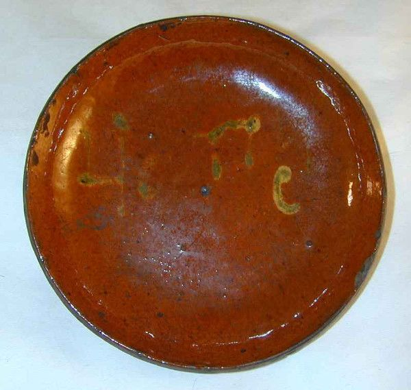 "Antique Primitive Pennsylvania Manganese and Lead Glazed Redware Slip Decorated Pie Plate Spells the Word ""Honey"""