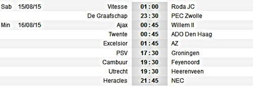 Jadwal Bola Eredivisie Liga Belanda Musim 2015/2016 Bulan Agustus ...