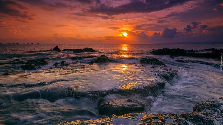 Indonezja, Wyspa Jawa, Wybrzeże, Morze, Skały, Zachód słońca