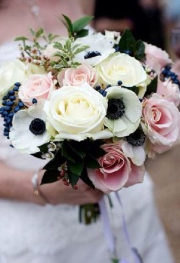 Anemone + blueberries to tie in Navy suits and add texture