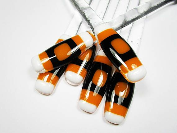 Swizzle Sticks 6 Black Orange Cocktail Stirrer Drink Stirrer