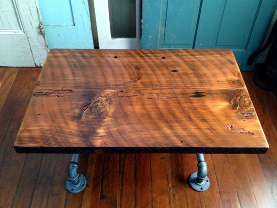 Coffee Table Reclaimed Barn Wood Table Galvanized Pipesteam Etsy