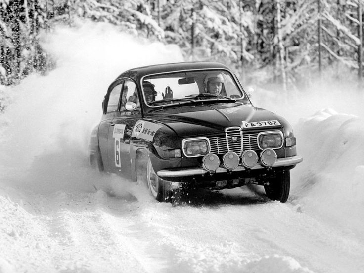 Saab 96 Rally Car 1969-1980  Papaw cleaned the windshield and warmed the car before she ran off to classes in Concord.