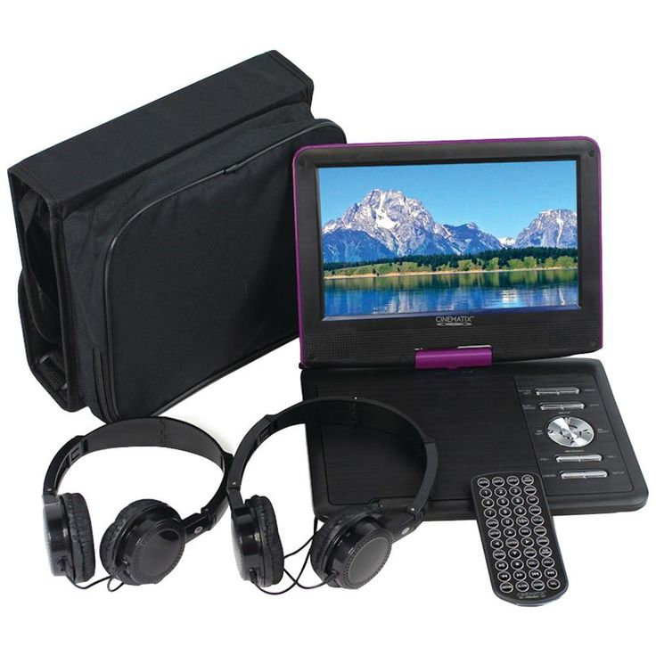 """Pct Brands Cinematix 9"""" Portable Dvd Player With 6-hour Battery (purple)"""