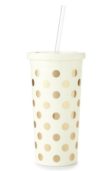 Free shipping and returns on kate spade new york gold dot insulated tumbler at Nordstrom.com. An insulated tumbler styled with signature, shimmery golden dots is so chic that even slurping will look cute. The straw makes it easy to sip on the go, while the faux-disposable top adds a pop homage to movie concessions and fast-food soft drinks.