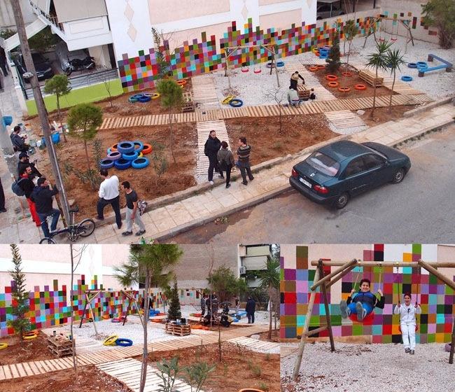 Urban Intervention in the form of a DIY Pocket Park at Stenimaxou Str. Athens by Atenistas / Πάρκο τσέπης απο επαναχρησιμοποιημένα υλικά - Οδός Στενημάχου, Αθήνα απο τους Αtenistas