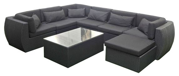 Our beautiful outdoor modular rattan lounge suite -set it up as you like: in idividual pieces or small/large couches