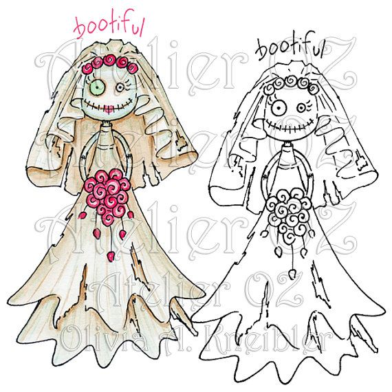 SALE Bootiful Halloween Bride Digital Stamp and by atelieroz